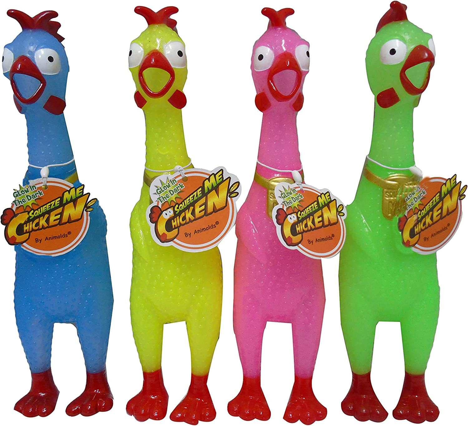 Animolds Squeeze Me Rubber Chicken ToyScreaming Rubber Chickens for KidsNo