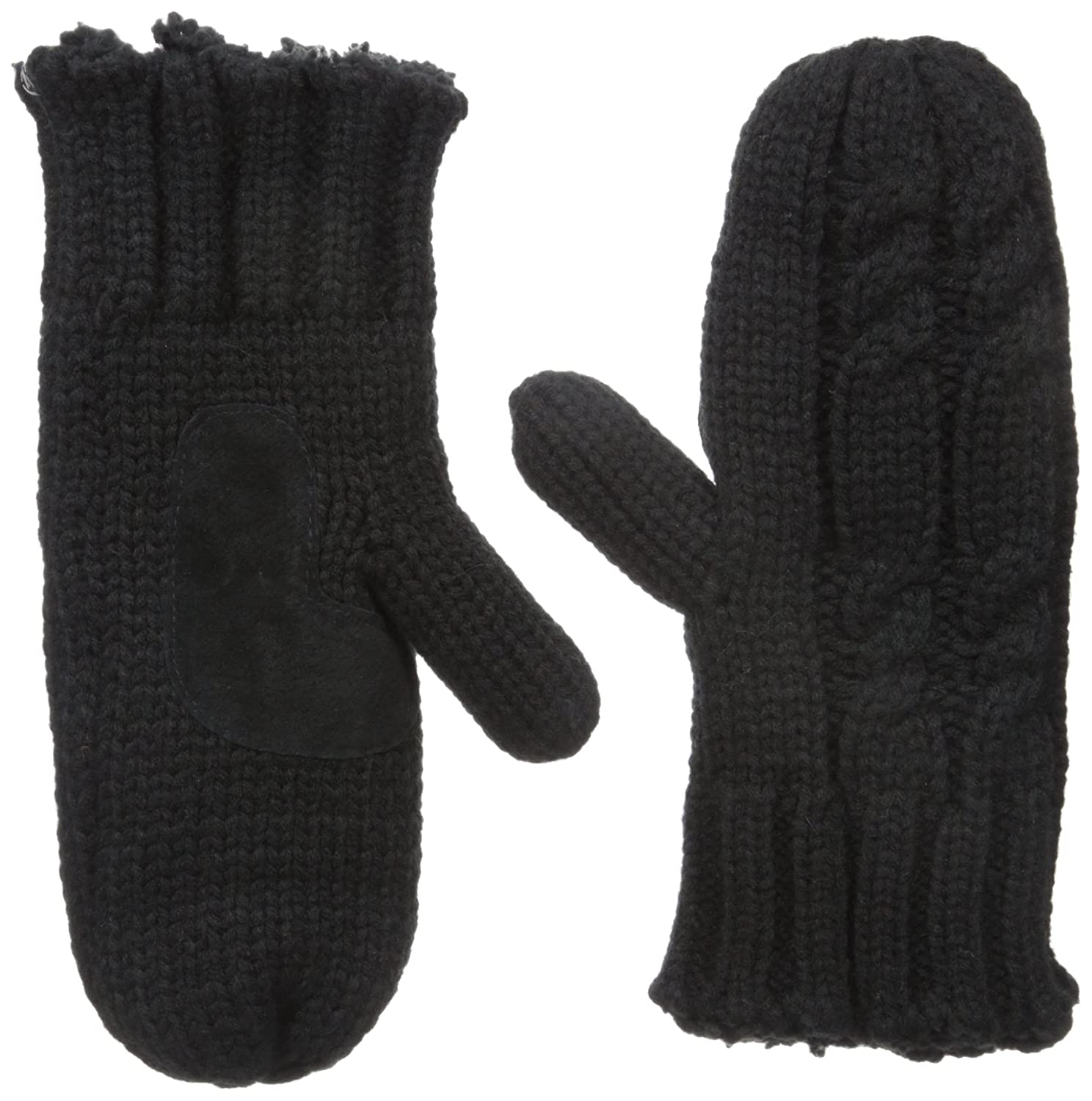 Isotoner Women's Cable Knit Mitten Black One Size 40311