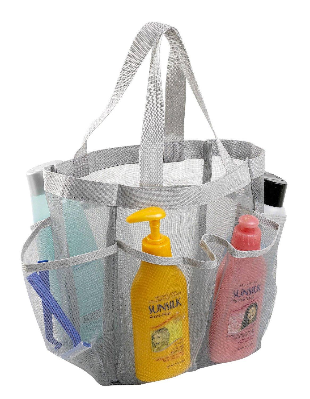 7 Pocket Shower Caddy Tote, Grey - Keep your shower essentials ...