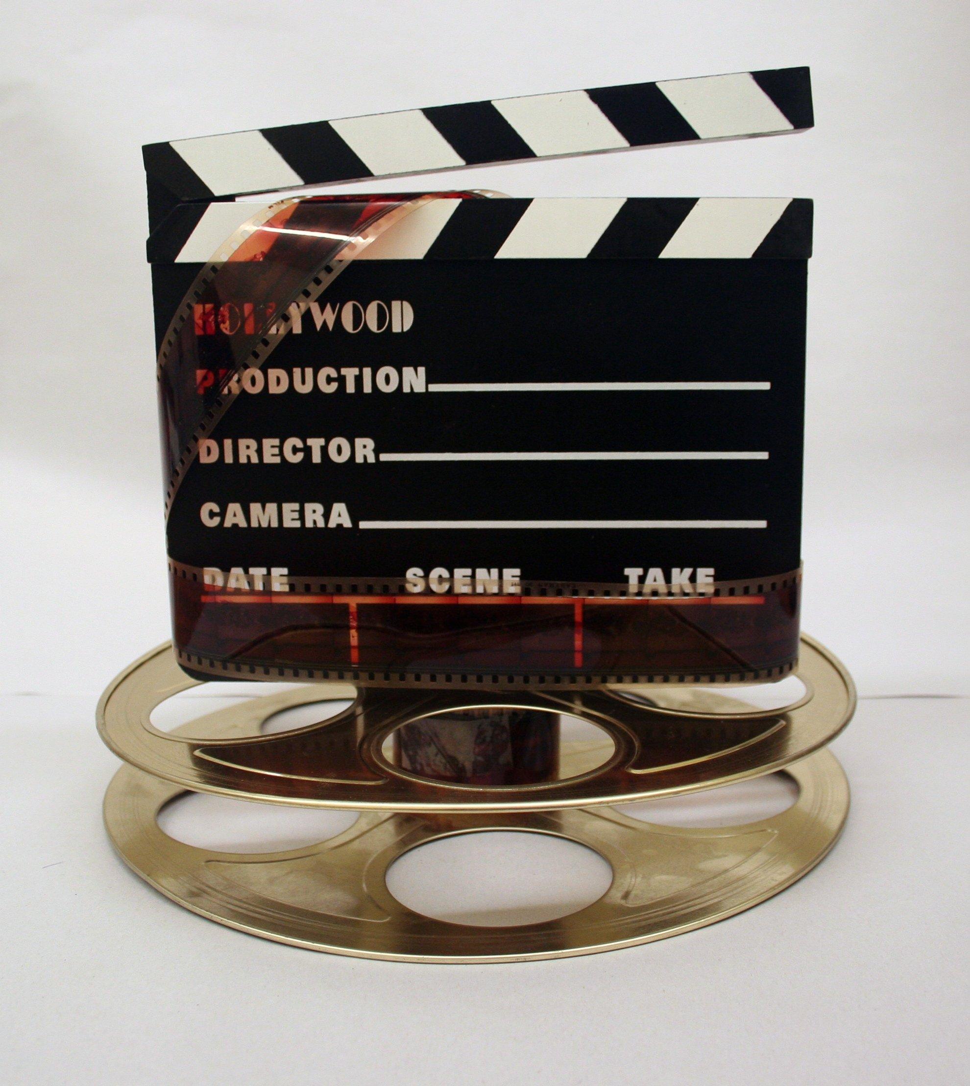 Hollywood Studio Clapboard & Reel Centerpiece - Gold