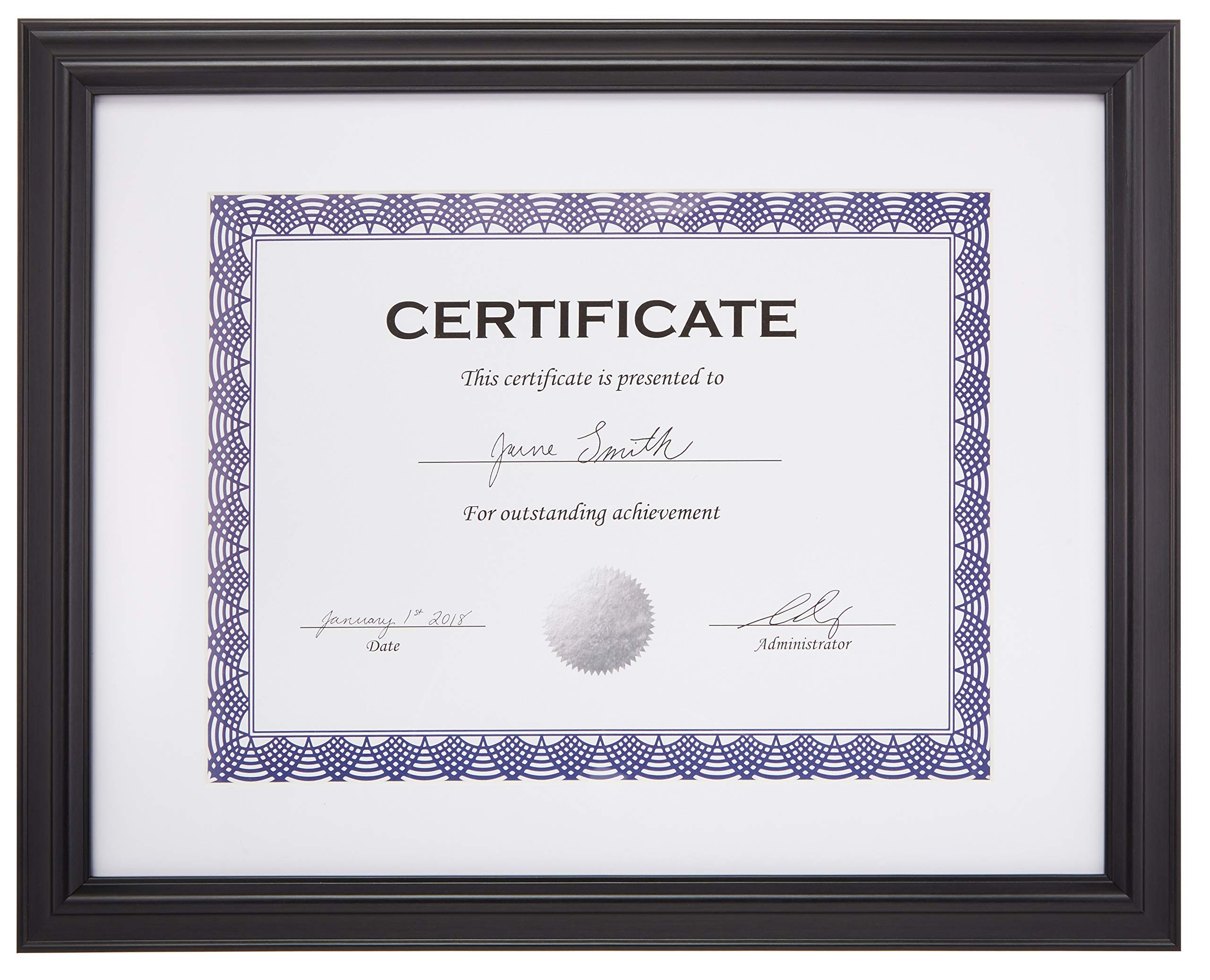 AmazonBasics Certificate Document Frame With Mat, 8.5'' x 11'', Black, 2-Pack