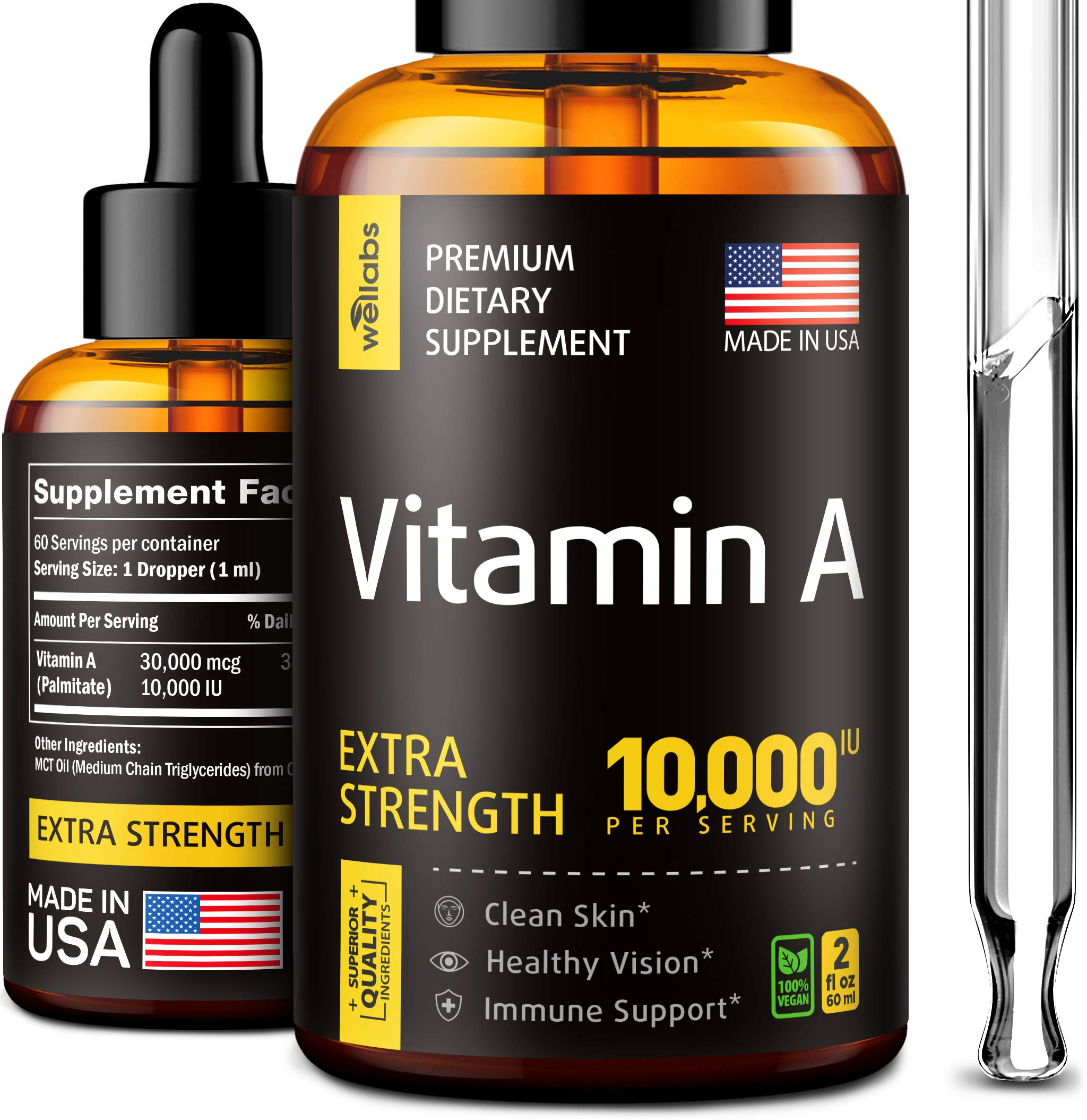 Vitamin A Supplement - Organic Vitamin A Palmitate - Made in The USA - Vitamin A Drops with MCT Oil - Natural Vitamin A 10000 IU for Immunity Support, Clean Skin & Healthy