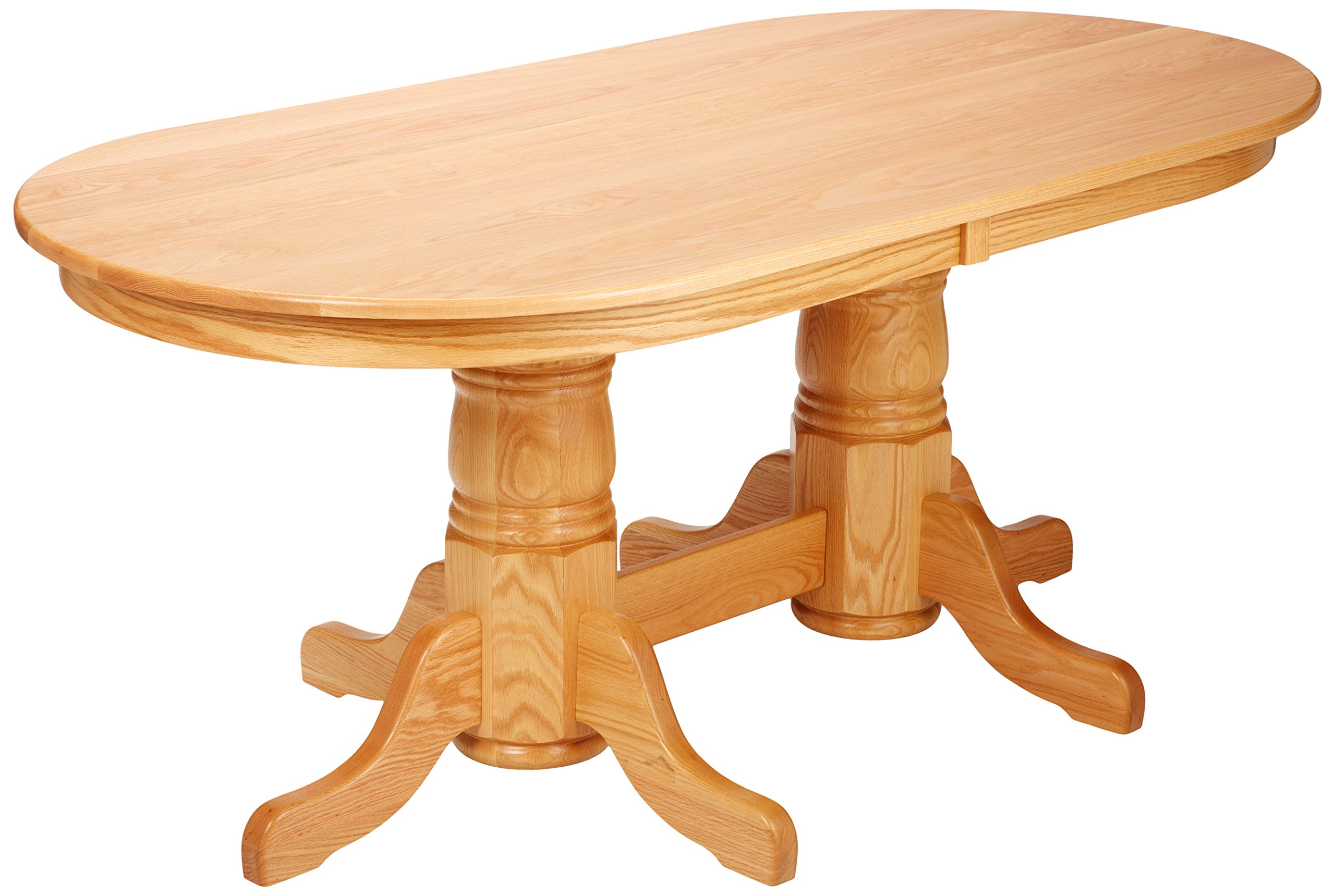 Dooley's EN7236DBD-4 Solid Oak Double Pedestal Oval Dining Table, 72'' Length x 36'' Width x 30'' Height, Natural Finish