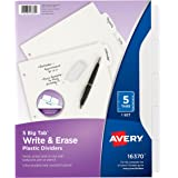 Avery Big Tab Write & Erase Durable Plastic Dividers, 5 White Tabs, 1 Set (16370)