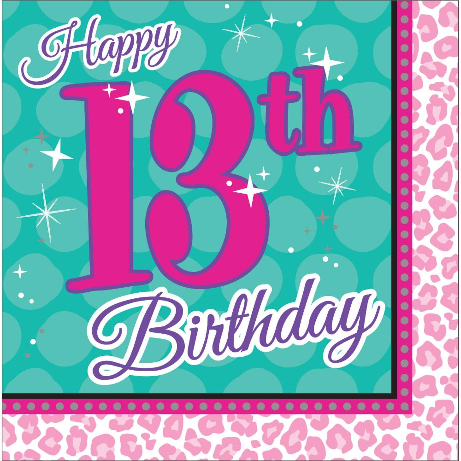 Club Pack of 192''Happy 13th Birthday'' Sparkle Spa Party! Paper Party Disposable 2-Ply Lunch Napkins 6.5''