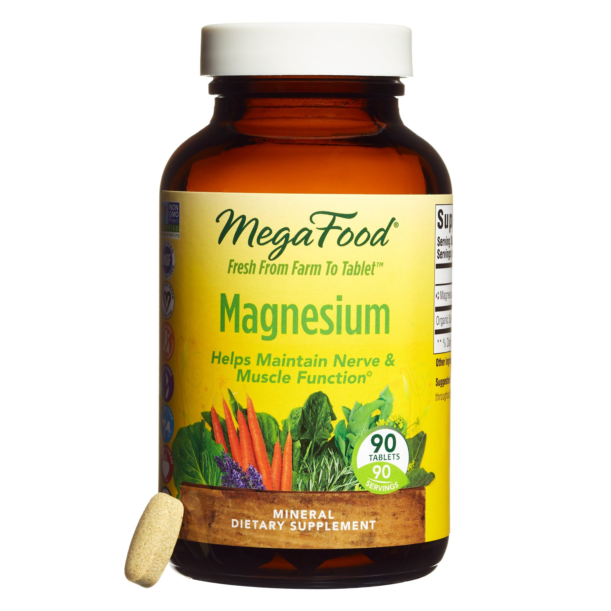 MegaFood - Magnesium, Multimineral Support for Heart, Muscle, and Nerve Health with Organic Spinach, Vegan, Gluten-Free, Non-GMO, 90 Tablets (FFP)