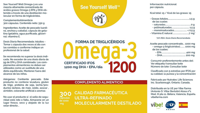 Omega 3 SYW. (300 cápsulas de 1000 mg) Certificado IFOS. Forma Triglicérido. Altamente concentrado: 400 mg de EPA y 200 mg de DHA.