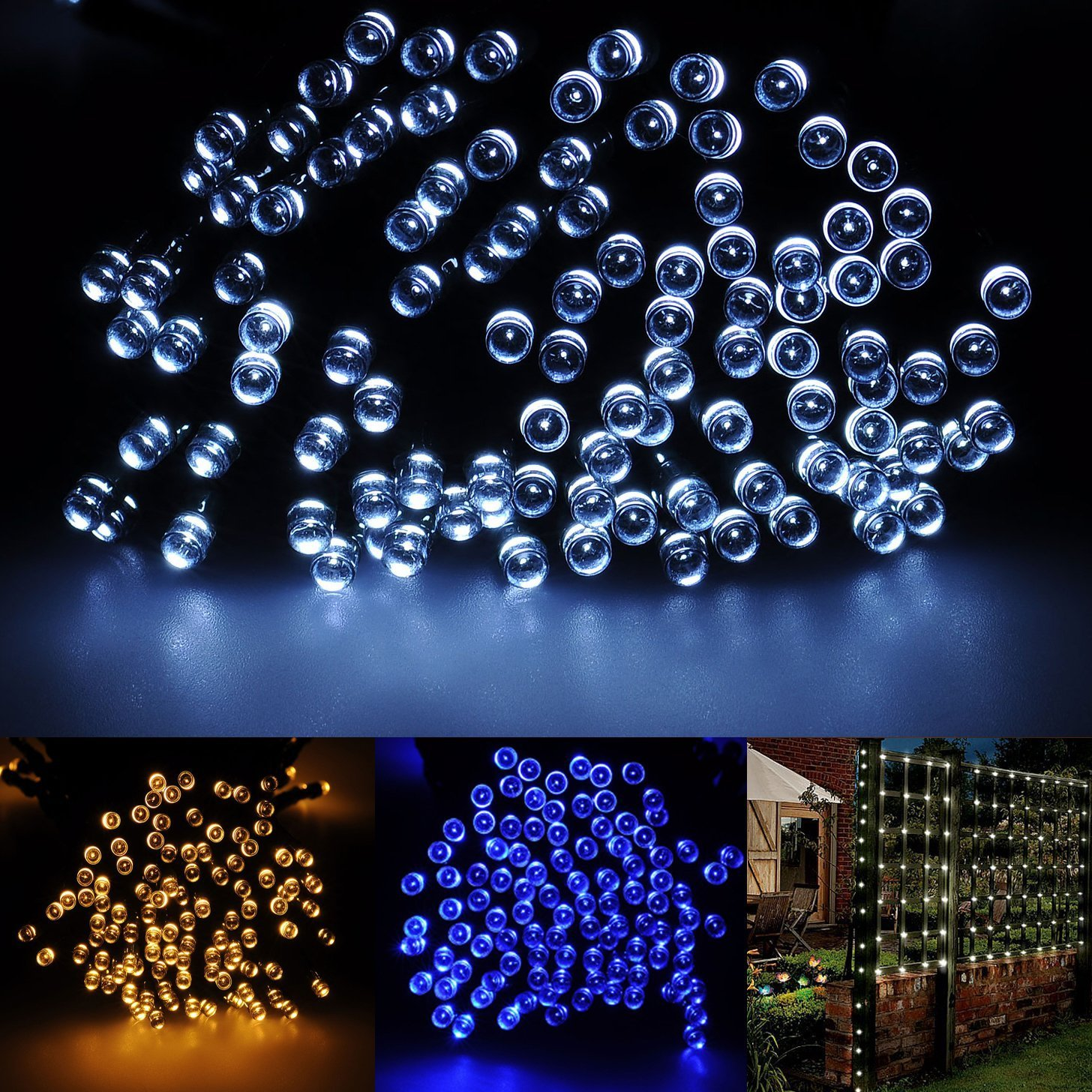 Brightown 72ft/22m 200 LED Solar Fairy String Lights for Outdoor, Gardens, Patio, Lawn, Porch, Gate, Yard, Trees, Homes, Christmas Party, Color Pure White, Guarantee for Three Month Replacement