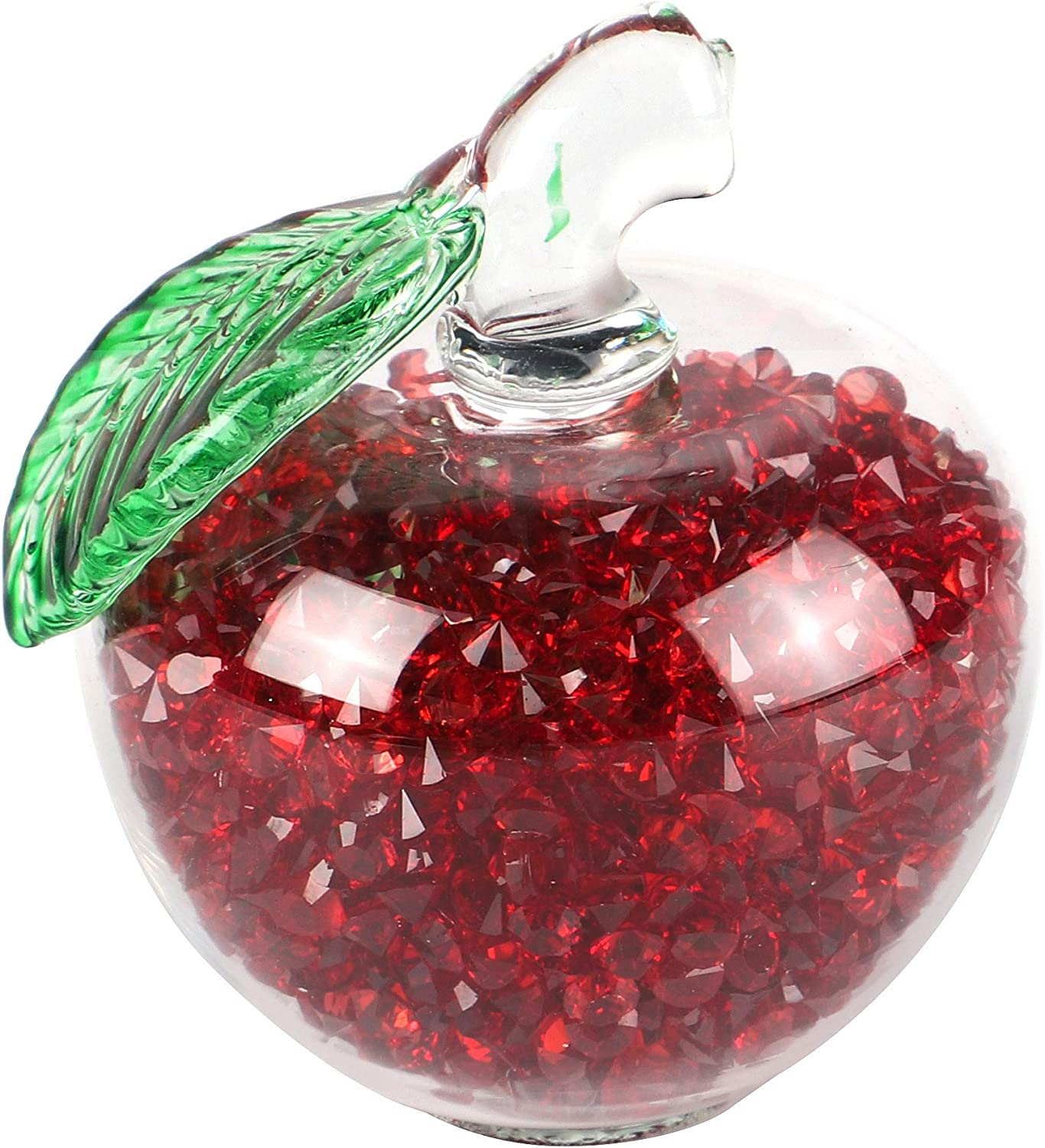 Grace Red Crystal Glass Apple Paperweight with Filling Rhinestones Diamonds for Home Decor Wedding Favors Guests Gifts Teacher Gifts Tourist Souvenirs