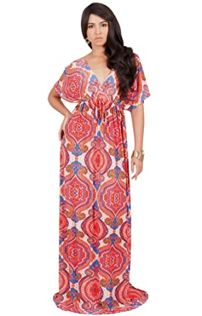 4e0f9a345b KOH KOH Petite Women Print Summer Sexy Kaftan Casual Spring Hawaiian Party  Cocktail Cute Wedding Guest