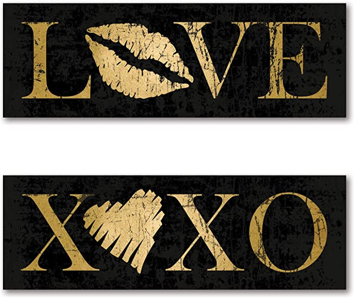 Trendy Distressed Black and Gold XOXO and Love Kiss Heart Panel Dorm Room Bedroom Panel Set by N. Harbick; Two 18x6in Unframed Paper Posters
