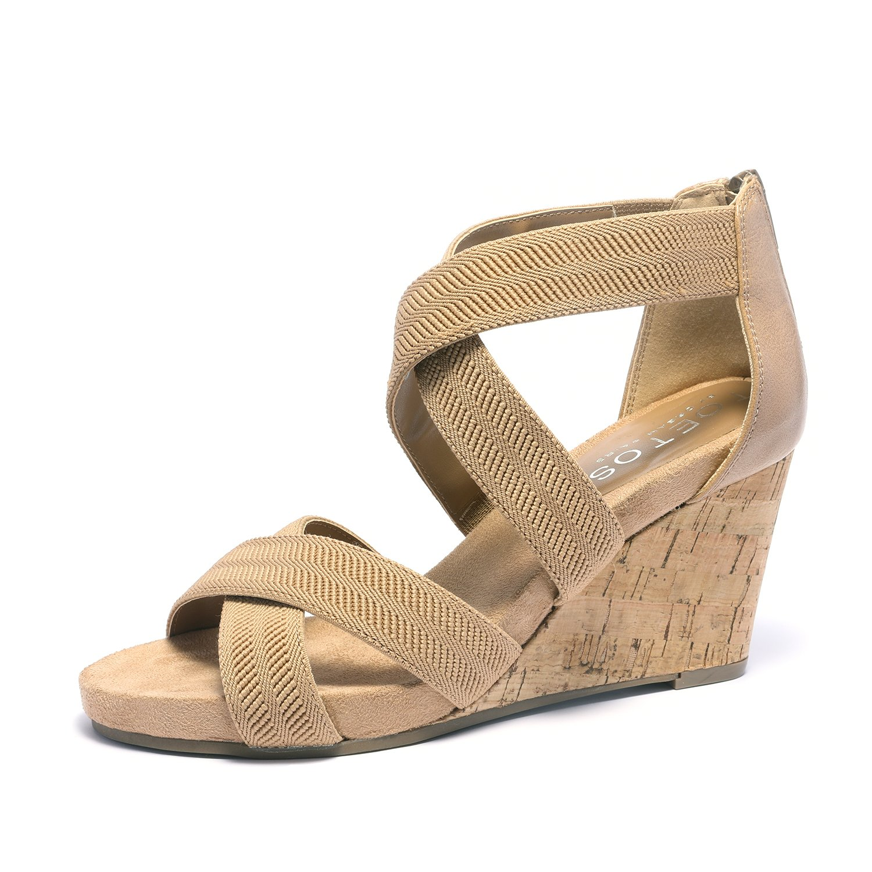 TOETOS Women's Solsoft_15 White Low Platform Wedges Back Zipper Sandals Size 8.5 B(M) US by TOETOS (Image #1)