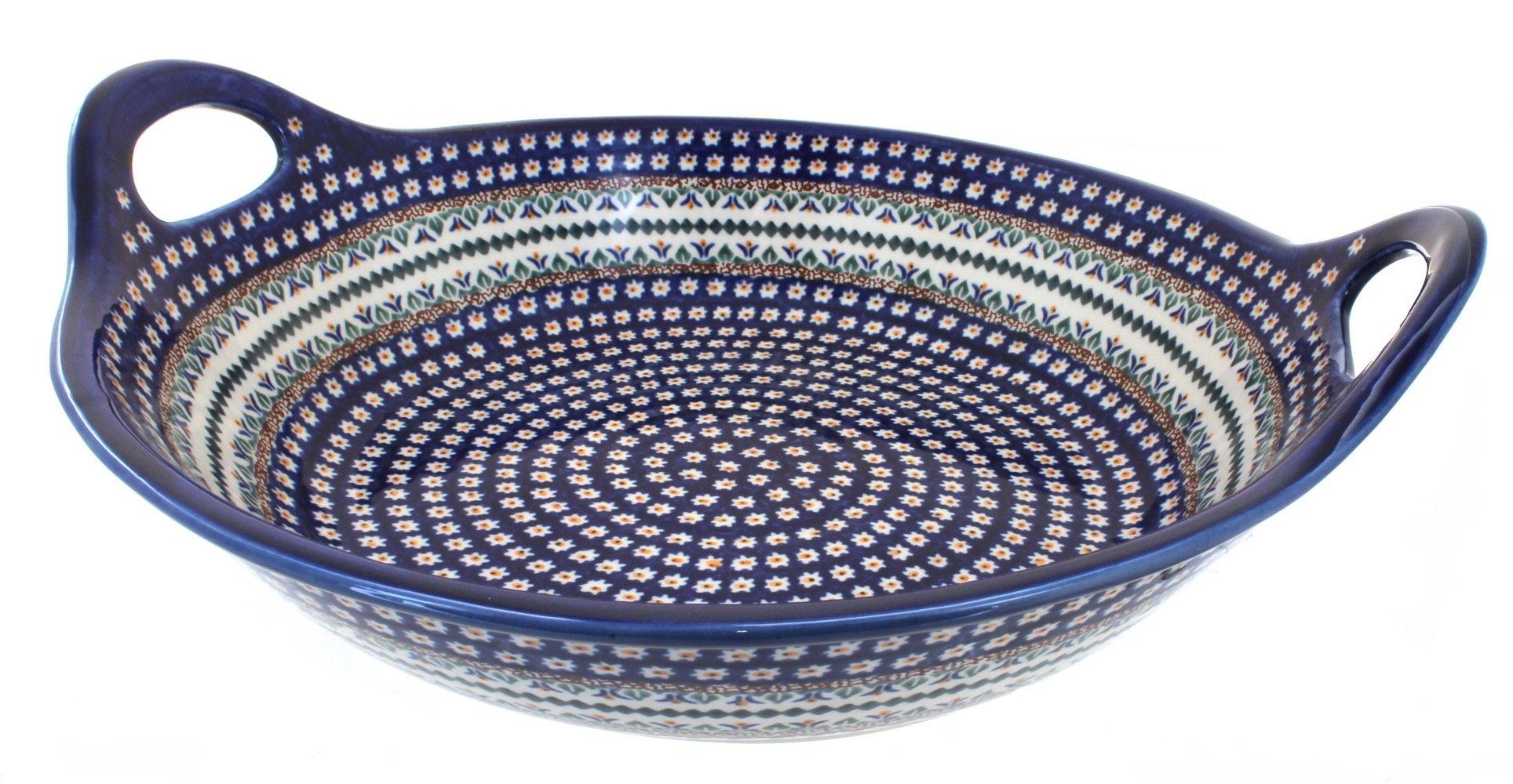 Polish Pottery Daisy Large Deep Bowl with Handles