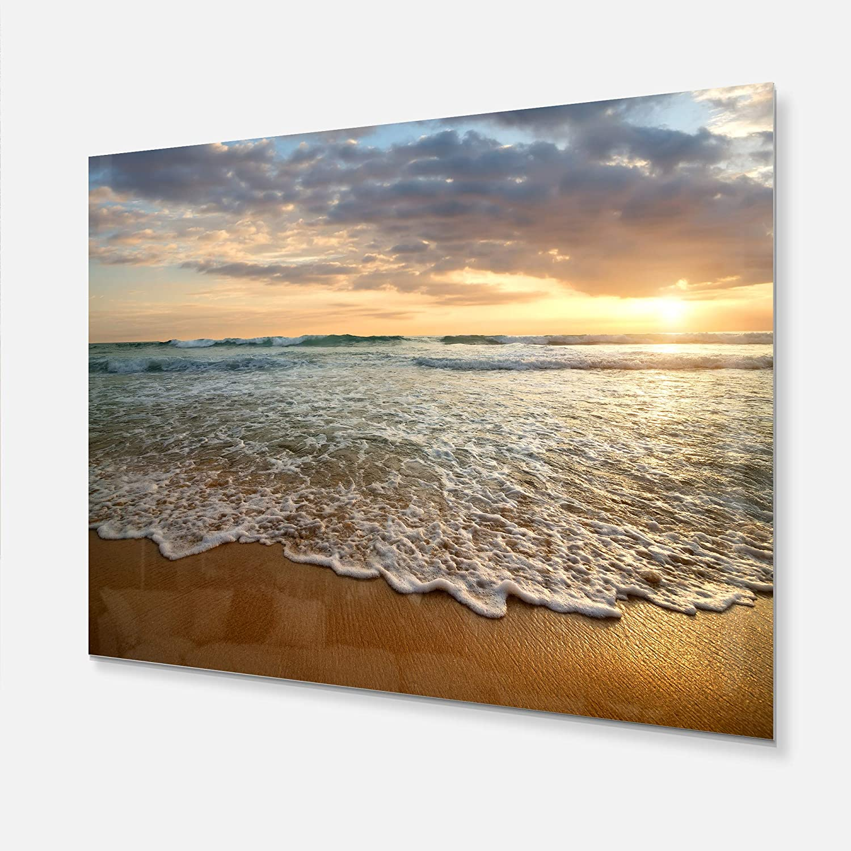 60 x 28 60 x 28 Design Art Blue//White Designart MT10728-401 Metal Wall Art