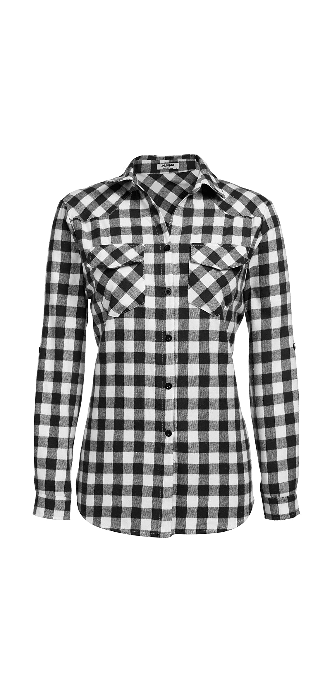 Womens Flannels Long/roll Up Sleeve Plaid Shirts Cotton