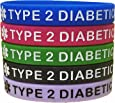 Type 2 Diabetes Bracelets Silicone Medical Alert Wristbands(5 pack) Blue, Green, Red, Black and Purple. Adult size.