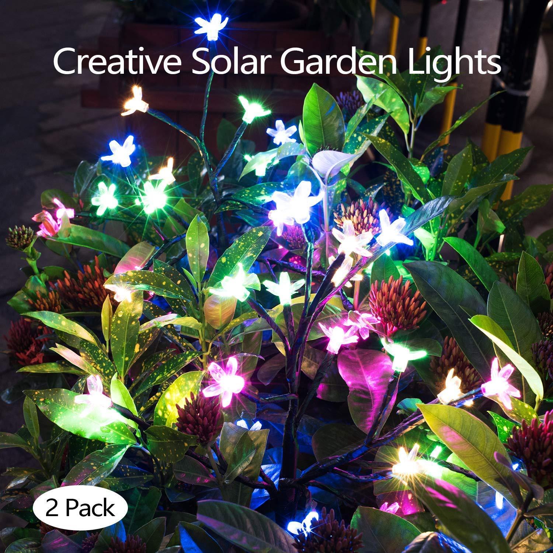 Solar Decorative Flower Lights Outdoor--(2 Pack) Solar Powered Outdoor Lights with Cherry Flowers, Multi-Color Changing LED Solar Landscape Lights for Yard, Lawn and Garden