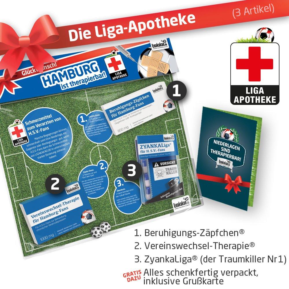 GESCHENK-SET: Die Liga-Apotheke für HSV-Fans | 3x süße Schmerzmittel für Hamburger SV Fans | Die besten Fanartikel der Liga, besser als Trikot, Home Away, Fan-Schal & Kennzeichenhalter Ligakakao.de