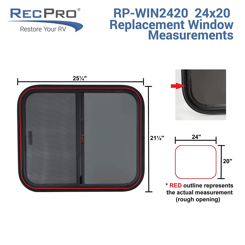RV Window Replacement 24 W x 20 H, No Trim Kit RV Window Teardrop Horizontal Slide