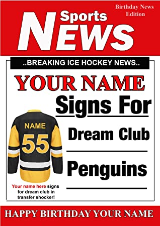 A5 Personalised Pittsburgh Penguins Ice Hockey Birthday Card Any
