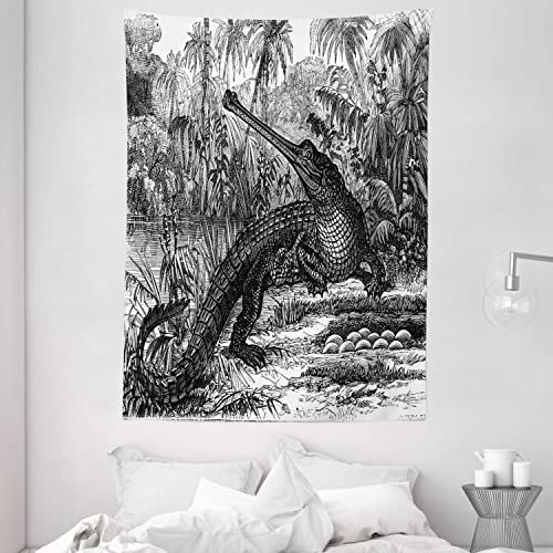 Ambesonne Vintage Tapestry, Old Fashion Sketch of a Crocodile in Forest Wildlife Nature Woods Fossil Picture, Wall Hanging for Bedroom Living Room Dorm, 60 X 80 , Charcoal Grey