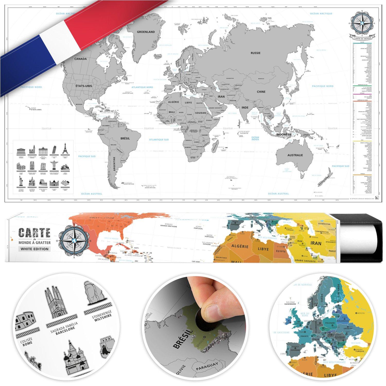 #benehacks Mapa del Mundo en Galo Tipo pó ster para rascar SIGA Sus Aventuras de Viaje en un Mapa detallado del Mundo - Mapamundi Oro/Blanco - 84 x 44 cm