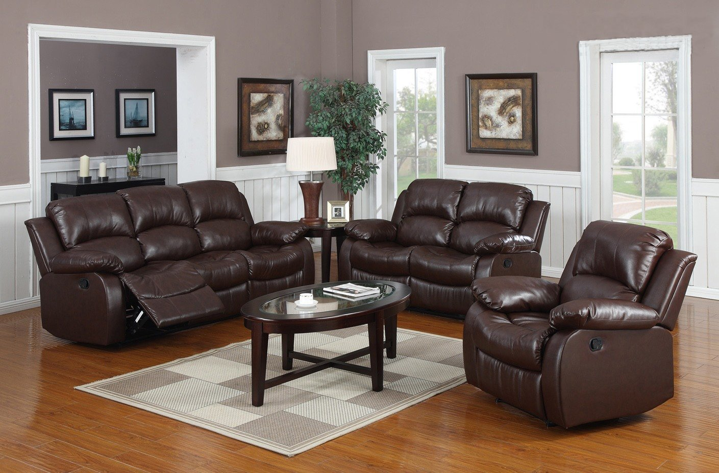Amazon.com: Huntington 3 Pc Bonded Leather Sofa U0026 Loveseat U0026 Chair Set With  5 Recliners: Kitchen U0026 Dining