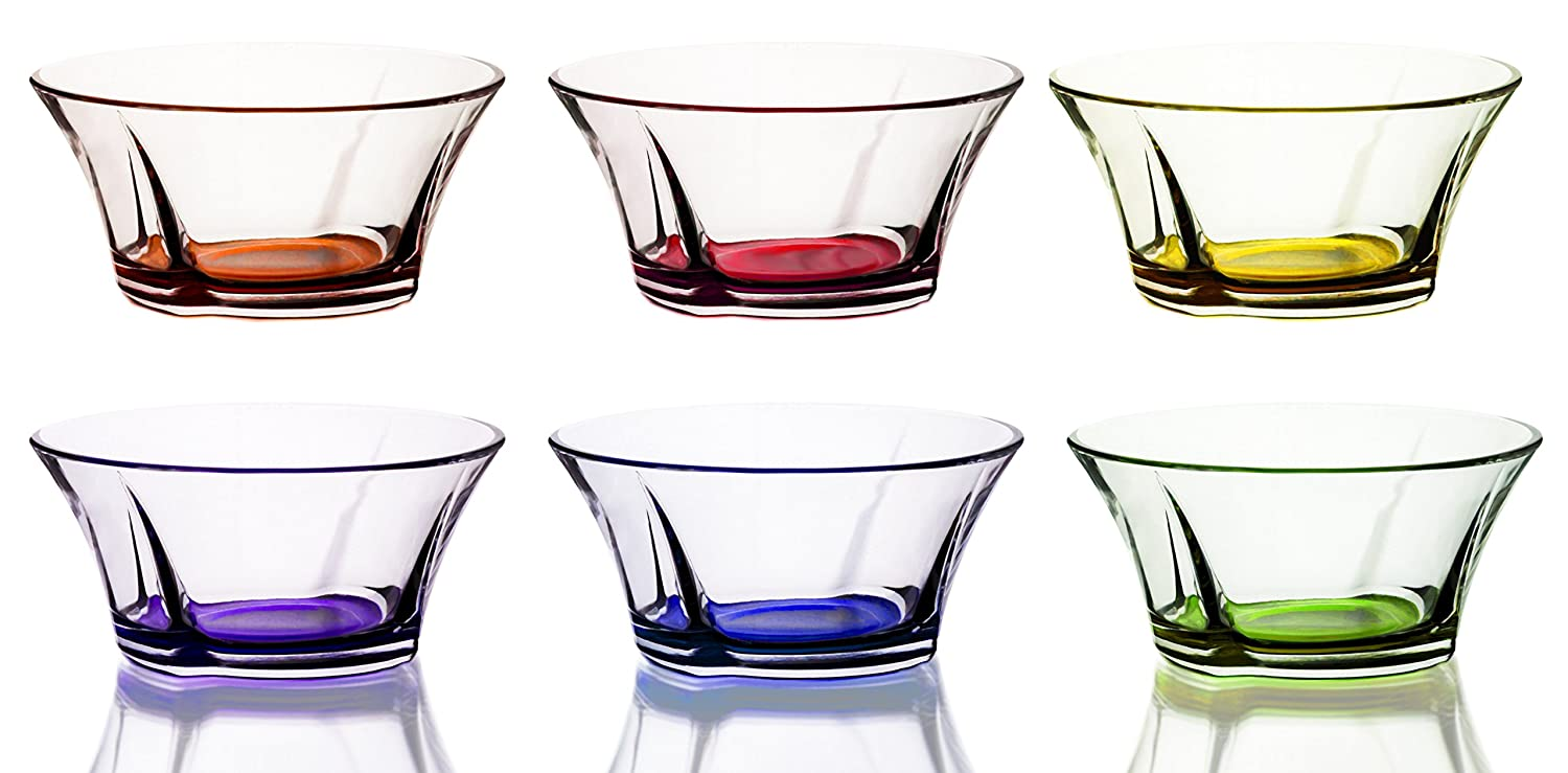 Mini Colored Glass Round Serving/Prep Bowls, 10 1/2 Ounce - Set of 6 Red Co. MH10870