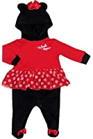 Disney Minnie Baby Girls Footed Hooded Tutu Bodysuit Dress Up Outfit