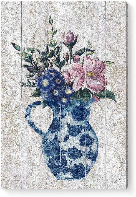 Wall Art for Bedroom Flower Canvas Print Framed Vintage Floral Wall Picture Vertical Botanical Wood Pattern Artwork for Home Living Room Bathroom Girl Room Décor Blue Pink White 16X24inch