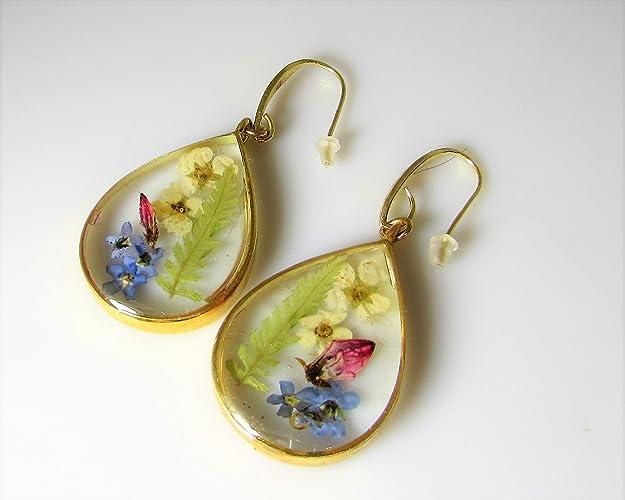 9088118d1 Amazon.com: Flower Garden, Real Flower Earrings, Pressed dried flowers in  resin (az3065): Handmade