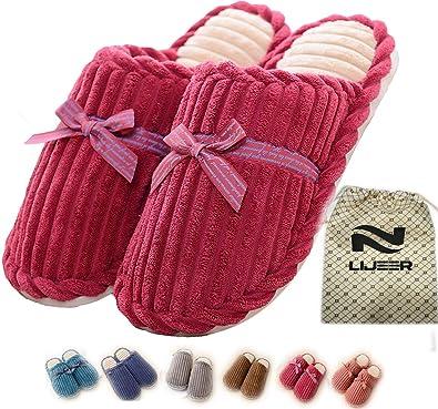 Casa Zapatillas de estar por casa interior y mujeres Cozy Nonslip Memoria de espuma ligero forro de felpa lavable de algodón caliente Casa Casa Lijeer: ...