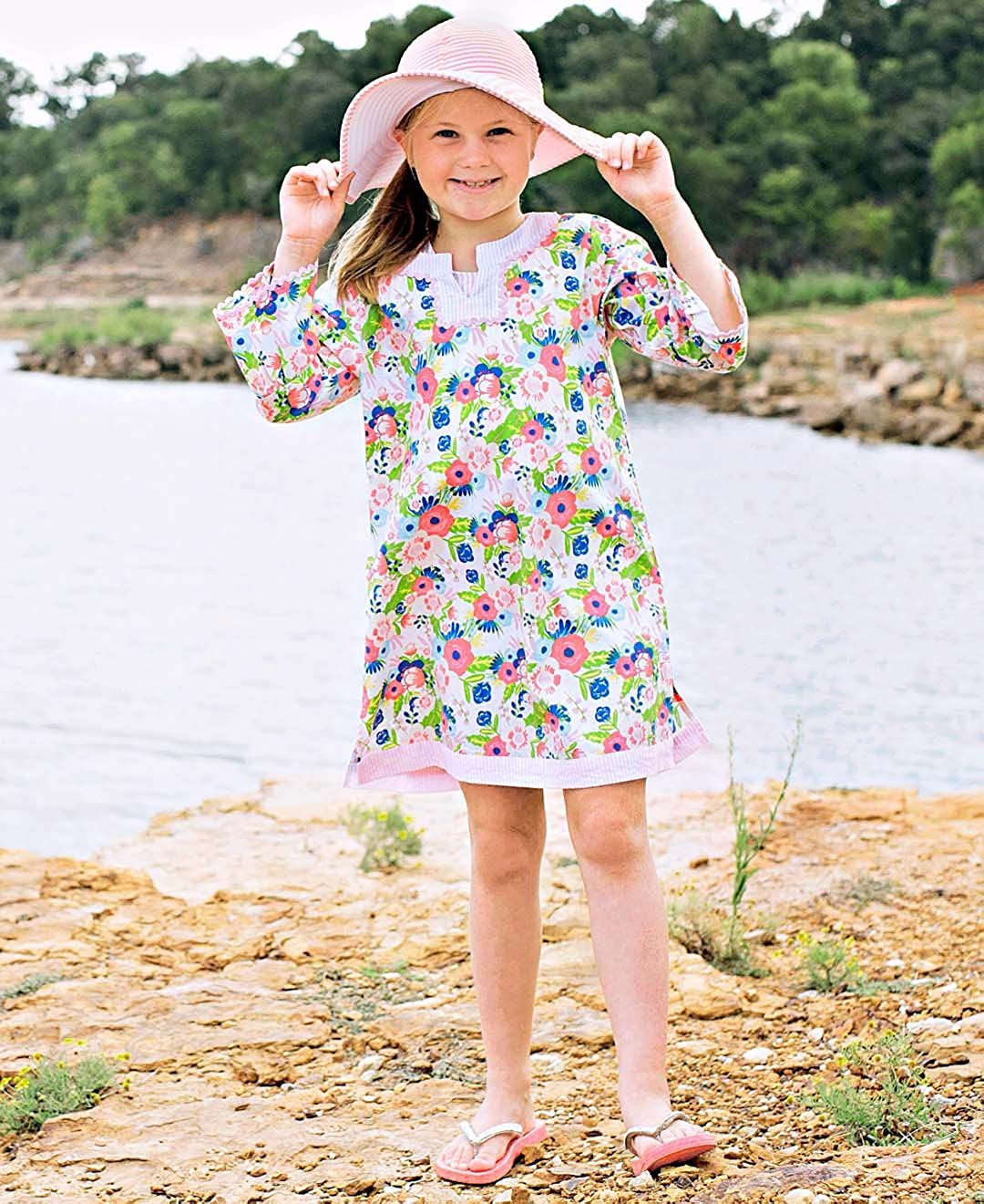 RuffleButts Little Girls Vintage Floral w//Seersucker Tunic Swimsuit Cover-Up
