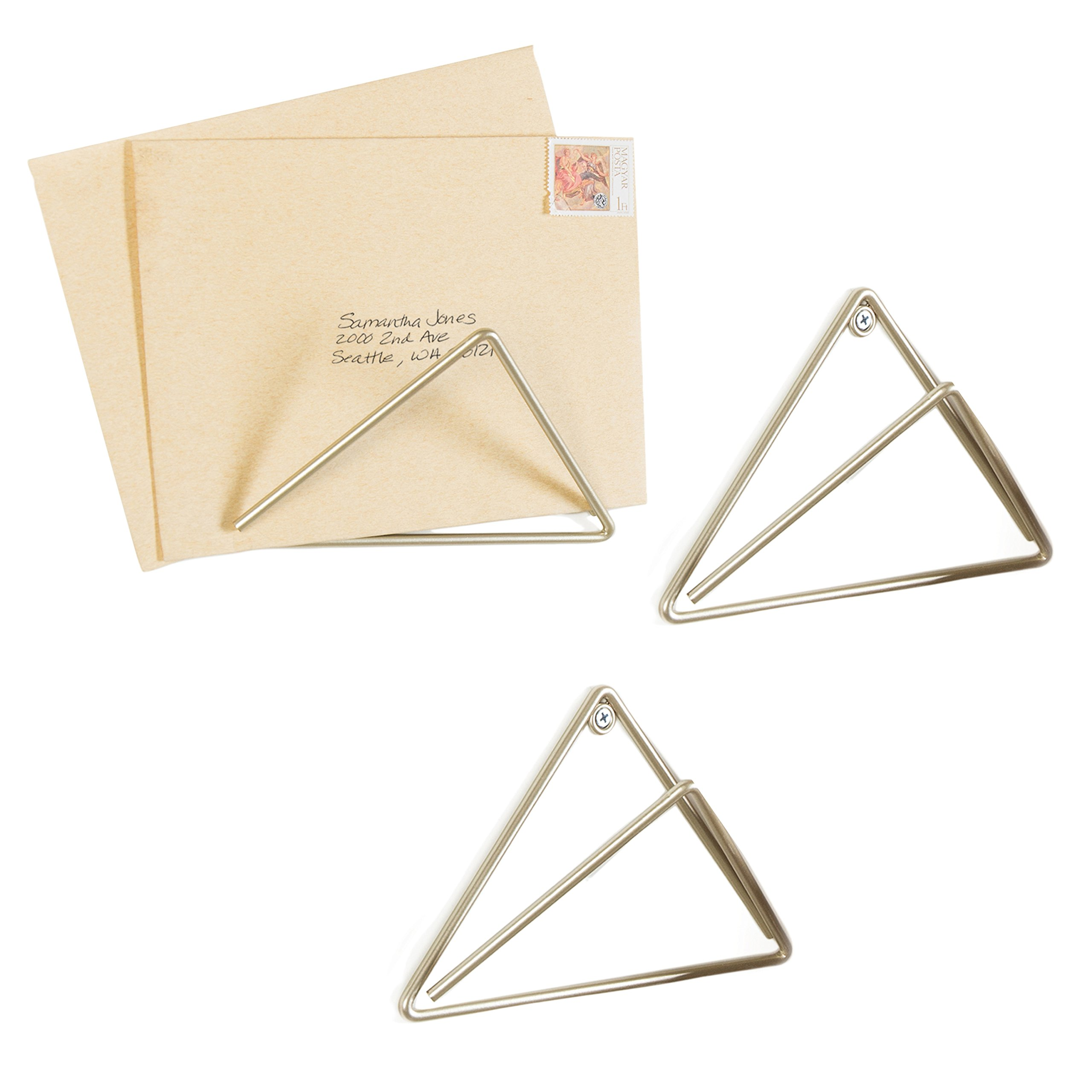 MyGift Set of 3 Gold-Tone Metal Wall-Mounted Triangular Letter Holders