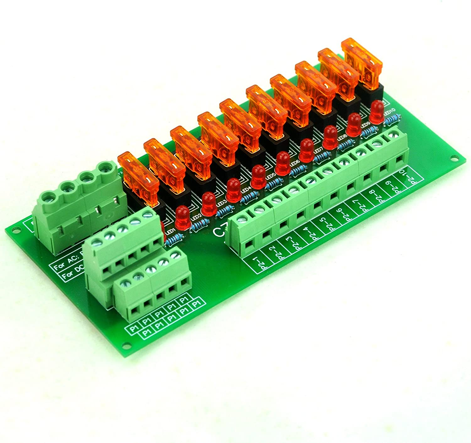 Electronics-Salon Panel Mount 10 Position Power Distribution Fuse Module Board For AC//DC 5~32V .