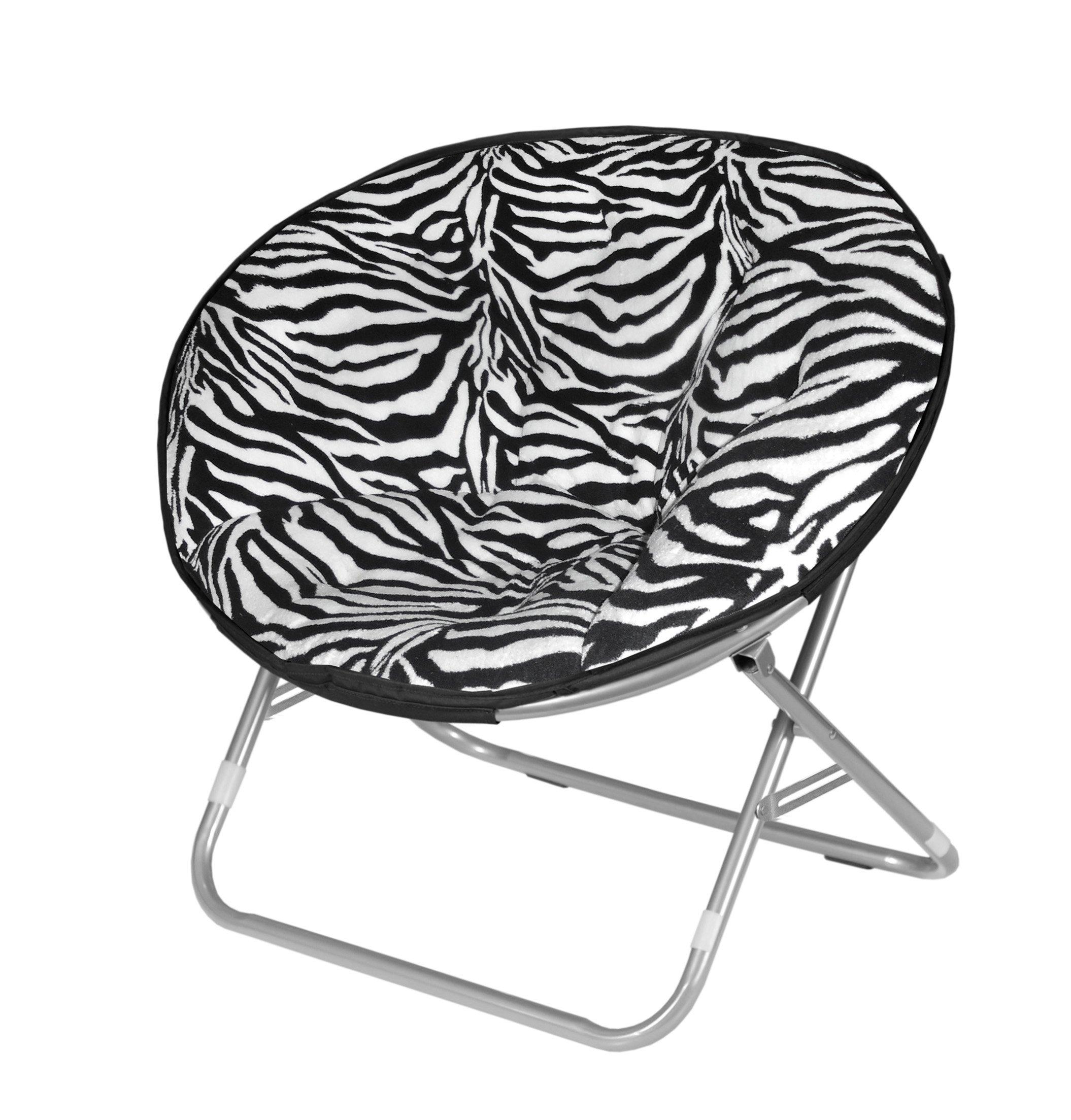Urban Shop Zebra Faux Fur Saucer Chair by Urban Shop