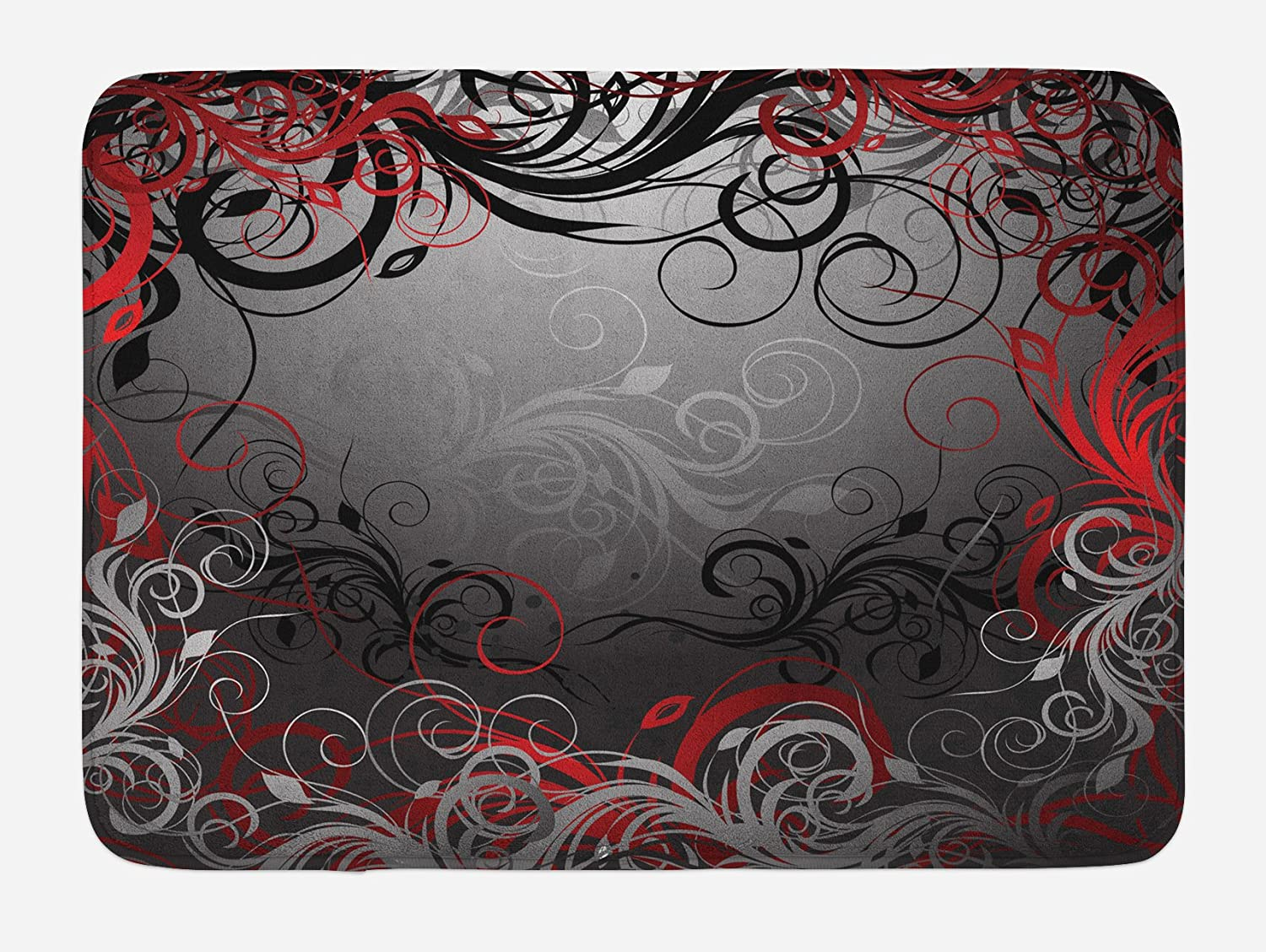 """Lunarable Abstract Bath Mat, Mystic Forest Floral Swirls Leaves Nature Fading Ombre Effect, Plush Bathroom Decor Mat with Non Slip Backing, 29.5"""" X 17.5"""", Charcoal Scarlet"""