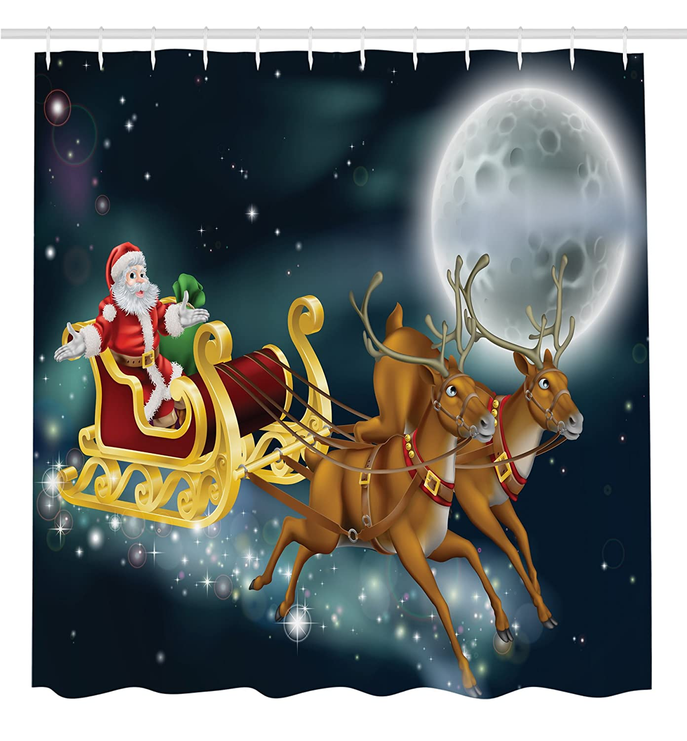 Santa with Reindeer in Sledge Flying Dark Magical Starry Night with Full Moon Fantasy Shower Curtain