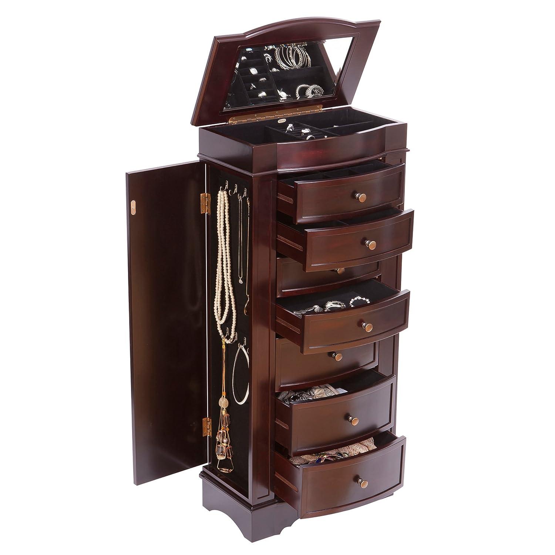 chelsea wooden jewelry armoire dark walnut finish home u0026 kitchen - Stand Up Jewelry Box