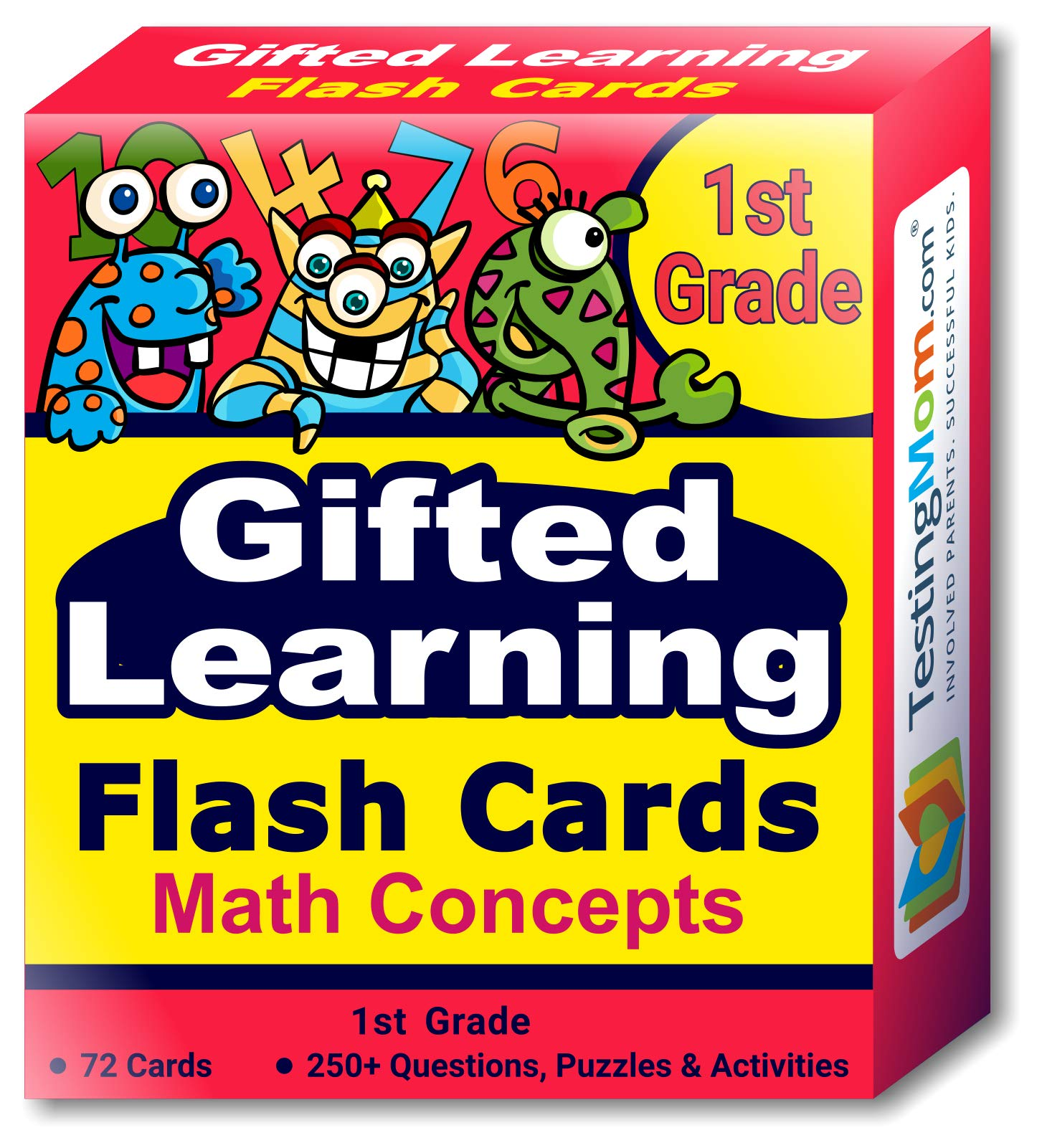 TestingMom.com Gifted Learning Flash Cards - Math Concepts for Grade 1 - Educational Practice for CogAT Test, OLSAT Test, ITBS, NYC Gifted and Talented, WISC, WPPSI