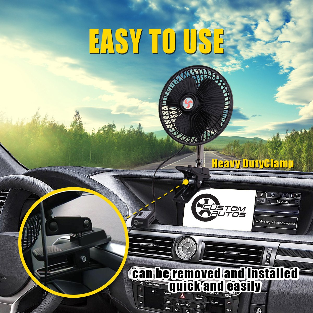 VaygWay 12V Car Oscillation Fan- 12 Volt Cigarette Lighter Fan- Portable Vehicle Clip on Fan-Car Rv Truck Golf Cart Fan