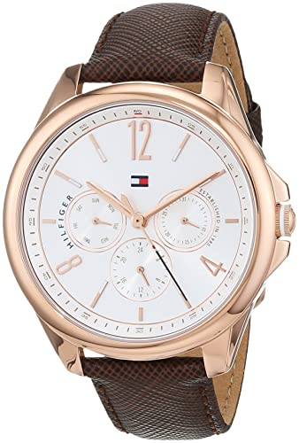adc1414e5 Tommy Hilfiger Womens Multi dial Quartz Watch with Leather Strap 1781823:  Amazon.co.uk: Watches