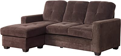 Homelegance 9789CF-3LC Sectional Sofa with Reversible Chaise, Coffee/Dark Brown Microfiber