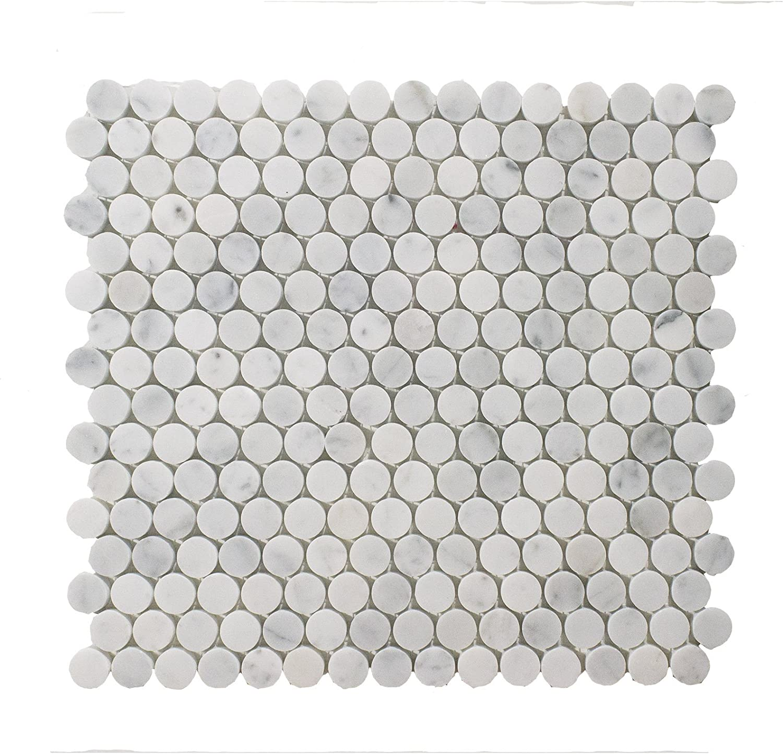 Carrara White Italian Carrera Marble Penny Round Mosaic Tile 3//4 inch Honed