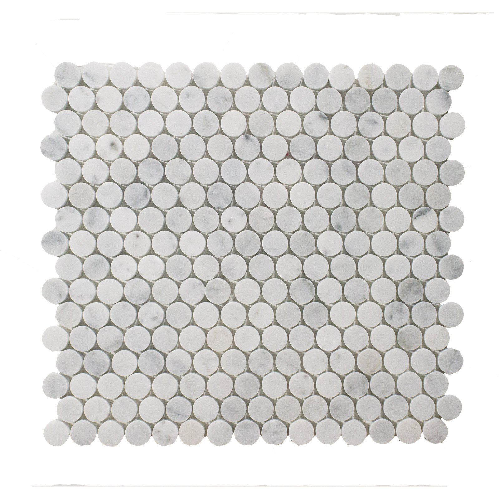 Carrara White Marble Mosaic Tile, CWMM34ROU-H, 3/4'' Penny Round, 12''X11-1/2''X3/8'', Honed (Box of 5 Sheets)
