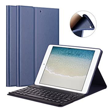 GOOJODOQ Funda de Teclado para iPad 2017/2018 9.7/ iPad Air, Cubierta de Soporte TPU Suave+Teclado: Amazon.es: Electrónica
