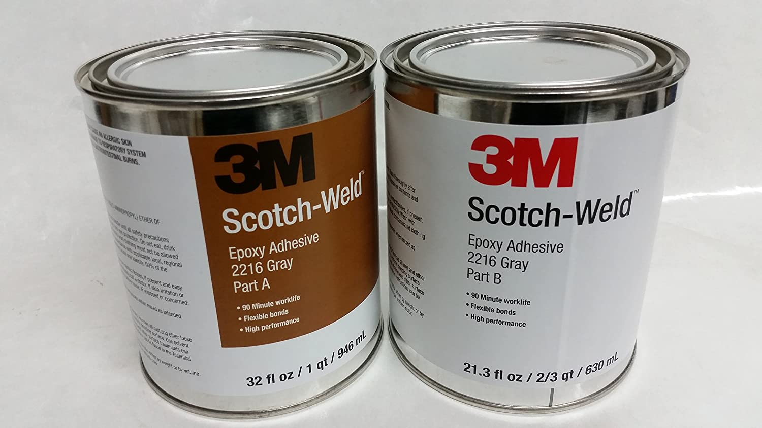 Amazon.com: 3M 2216 B/A SCOTCHWELD GRAY EPOXY one QUART KIT: Industrial &  Scientific
