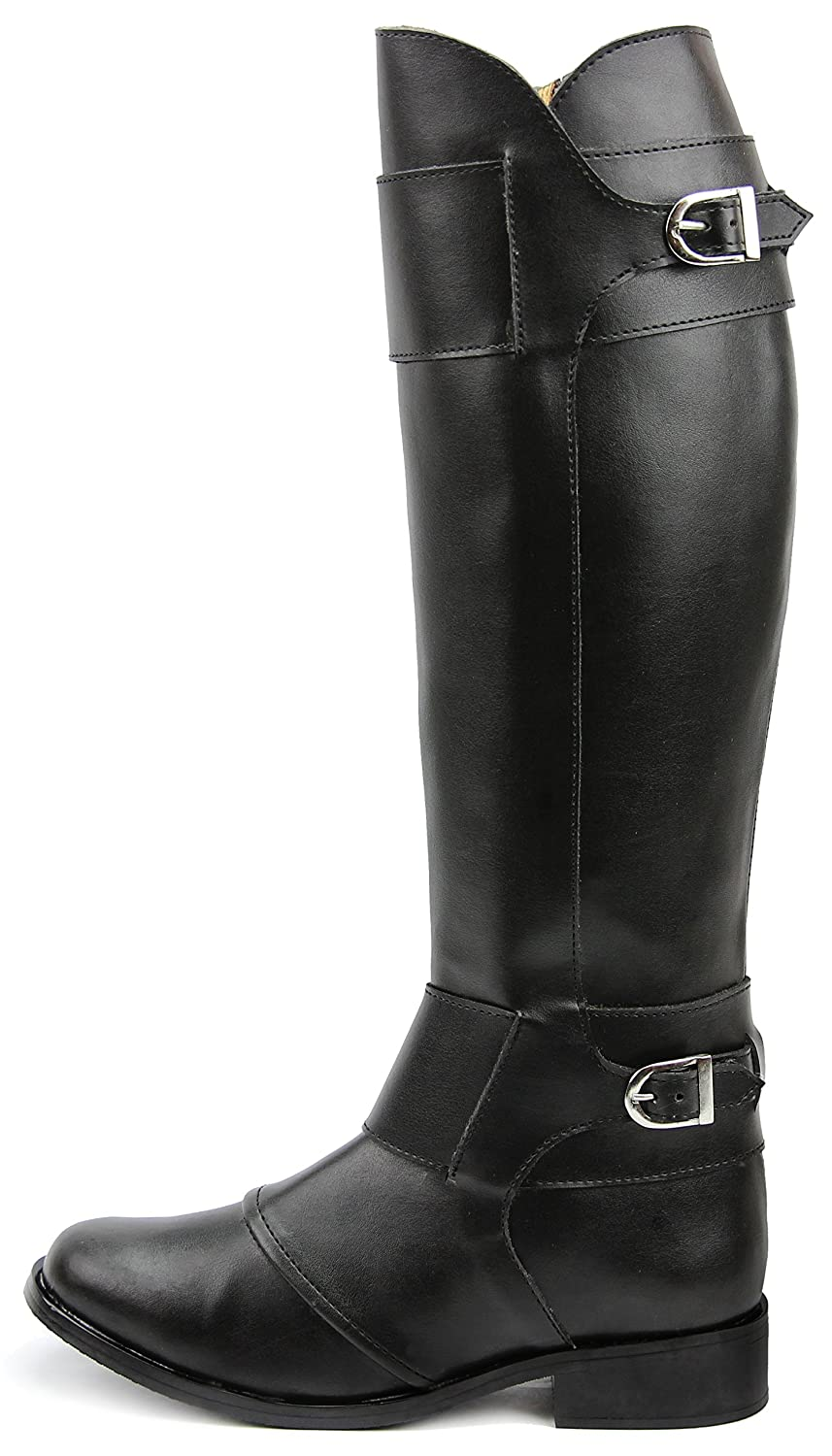 Men's Tall Fashion Knee High Black Leather Riding Boots