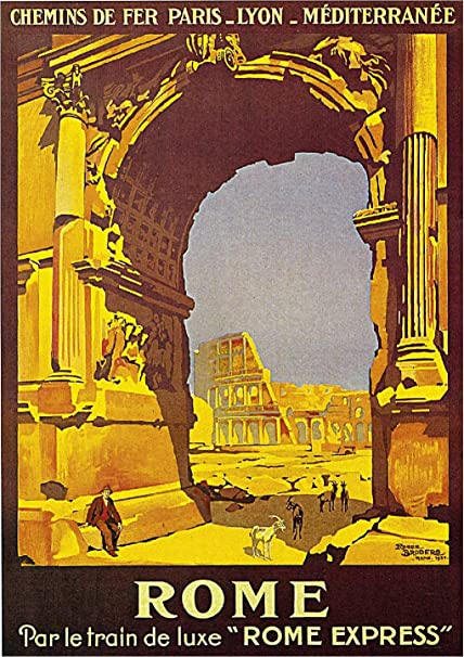 Rome Vintage Travel Poster Italy Framed (Ready To Hang