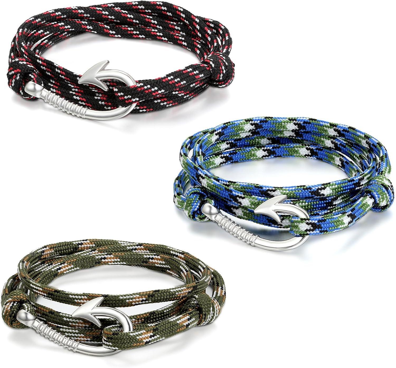 JewelryWe Joyería 3pcs Pulseras de Gancho Marino Marinero, Cuerda de Nailon Cómodo Ligero, Brazalete de Moda, Pulsera Militar Verde de Hombre Mujer, Pulseras para El Verano 2017